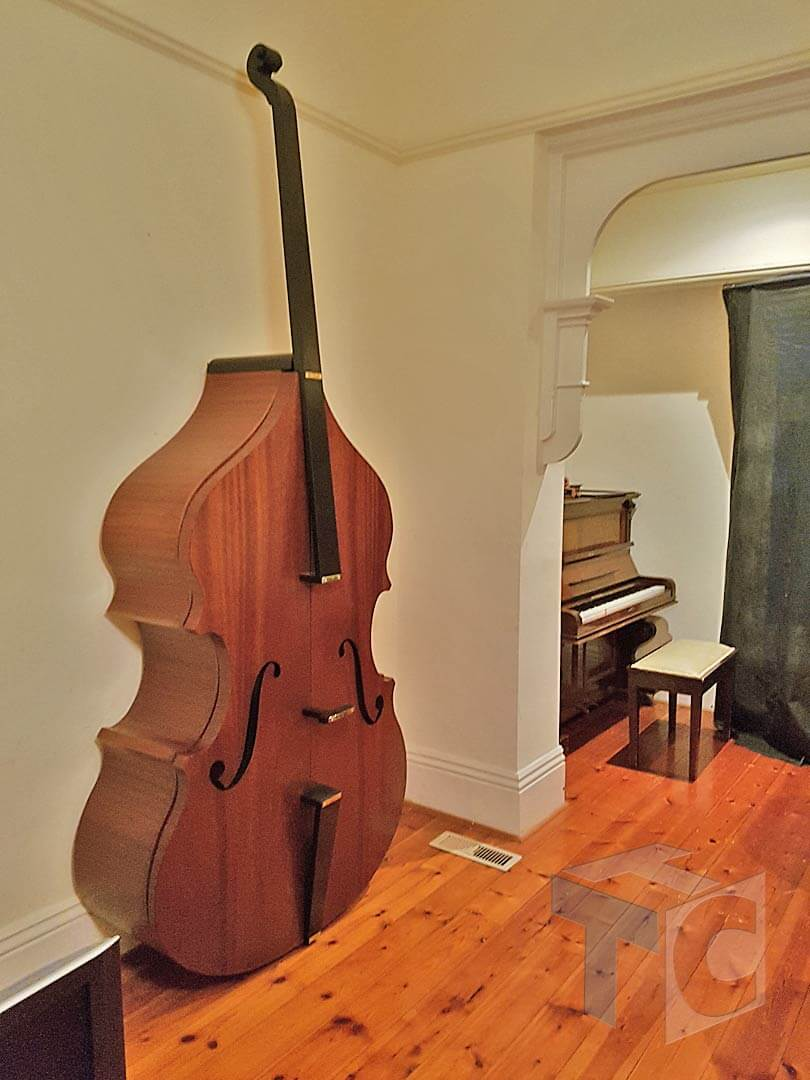Cabinet Bass musical Instrument shape with doors 01
