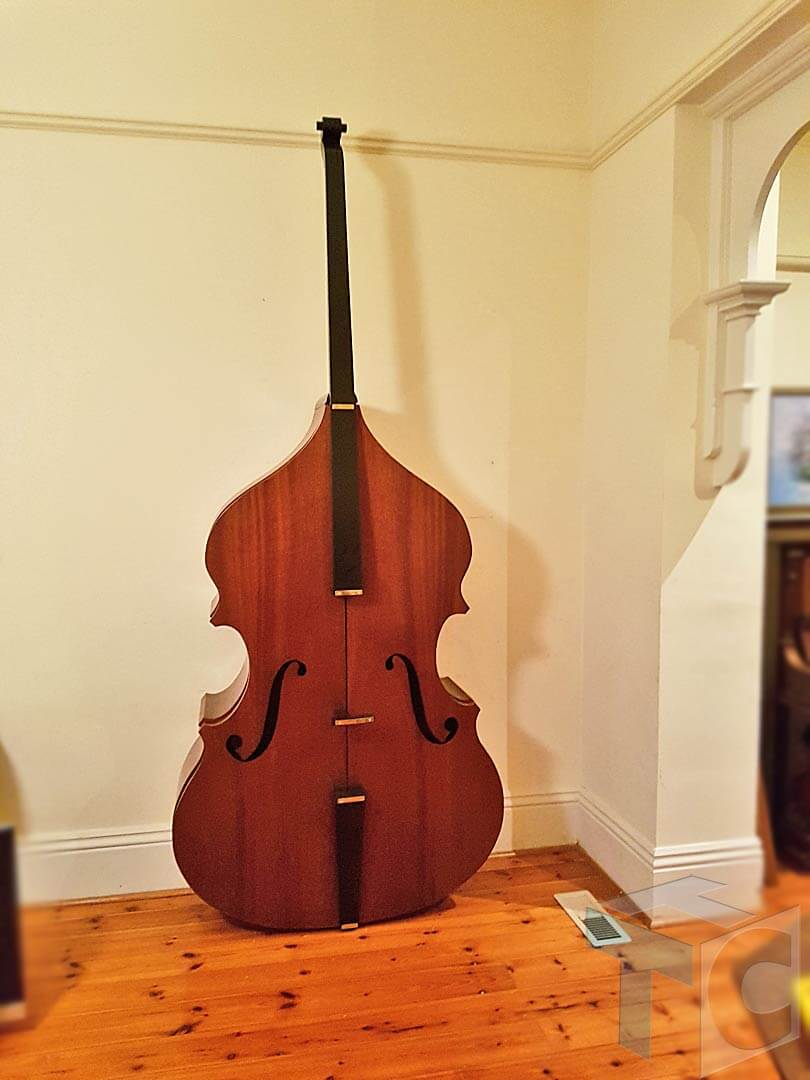 Cabinet Bass musical Instrument shape with doors 02