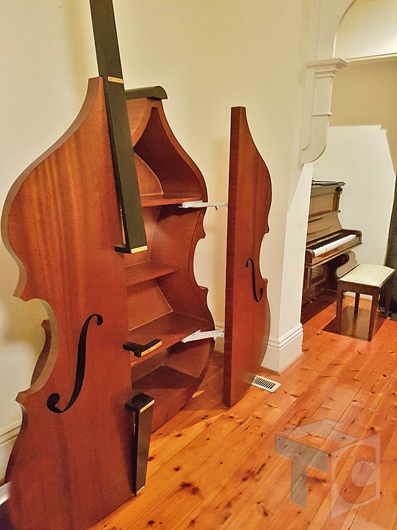 Cabinet Bass musical Instrument shape with doors 04